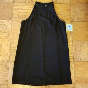 CeCe Jardin Black Scalloped Halter Neck Dress